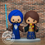 Ironman Groom with Turban & Gryffindor Bride Wedding Cake Topper | Star Wars x Harry Potter | Jessichu Creations