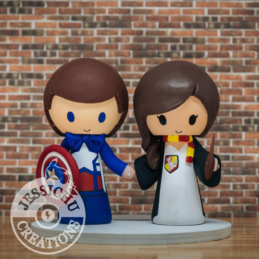 Captain America Groom & Gryffindor Bride Wedding Cake Topper | Marvel x Harry Potter | Jessichu Creations