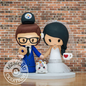 Steelers Sports Fan and Pretty Bride with Unicorn, Coffee & Bagel Wedding Cake Topper | Jessichu Creations