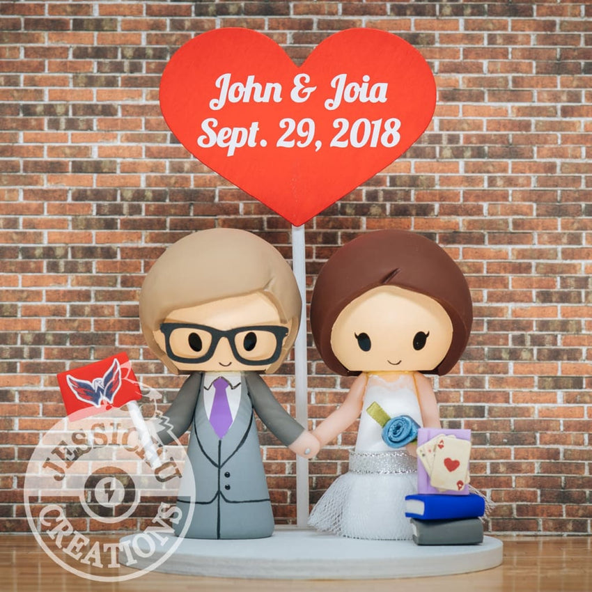 Washington Capitals Sports Fan and Pretty Bride Wedding Cake Topper | Jessichu Creations
