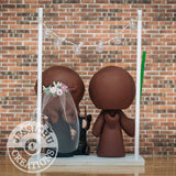 Jedi Groom & Gryffindor Bride with Pet Cats Wedding Cake Topper | Star Wars x Harry Potter | Jessichu Creations