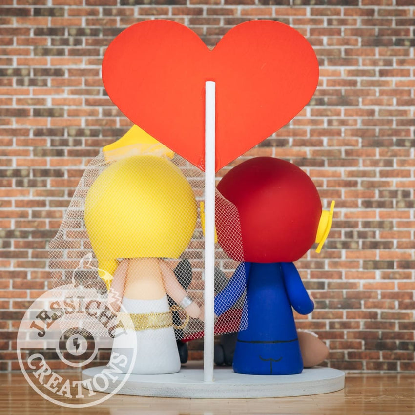 Flash and Wonder Woman with Batman & Superman Cat Wedding Cake Topper | DC Comics x Justice League | Jessichu Creations