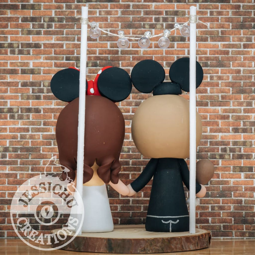 Mickey Mouse Groom & Minnie Mouse Bride Wedding Cake Topper | Disney | Jessichu Creations