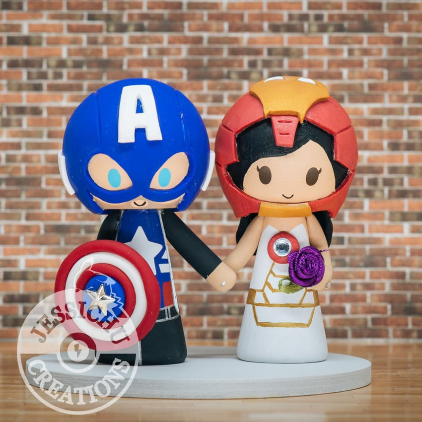 Captain America & Ironman Wedding Cake Topper | Marvel | Jessichu Creations