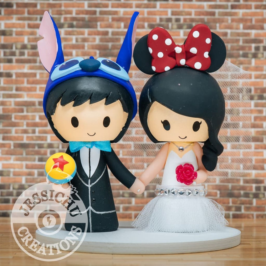 Stitch & Minnie Mouse Wedding Cake Topper | Disney x Pixar | Jessichu Creations