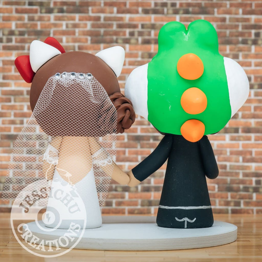 Yoshi Groom & Hello Kitty Bride Custom Wedding Cake Topper | Mario x Sanrio | Jessichu Creations