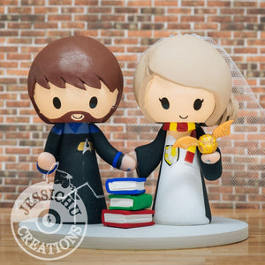 Medical Star Trek Groom & Harry Potter Gryffindor Bride with Quidditch Golden Snitch Wedding Cake Topper | Jessichu Creations