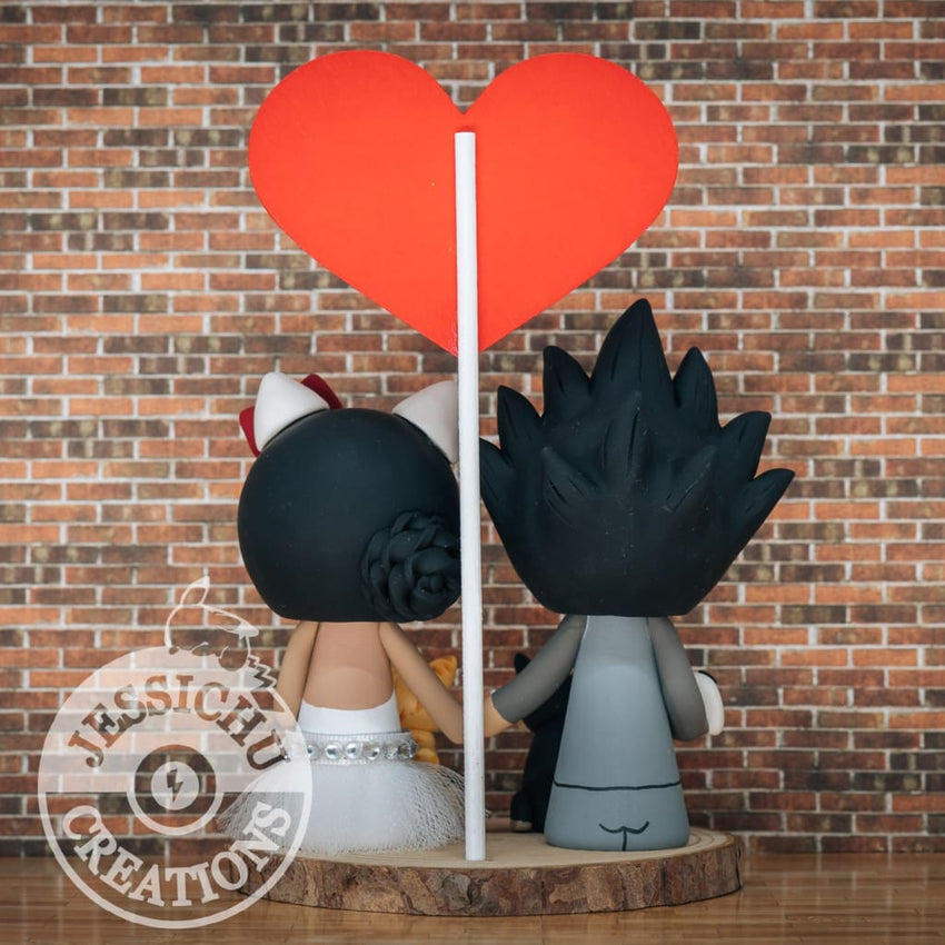 Goku Superman Groom & Hello Kitty Bride Custom Wedding Cake Topper |  DC x Sanrio x Dragon Ball Z | Jessichu Creations