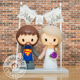 Superman Groom & Pretty Bride - DC x Justice League Inspired Wedding Cake Topper Cake Topper Gallery