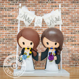 Harry Potter Hufflepuff & Ravenclaw Wedding Cake Topper | HP | Jessichu Creations