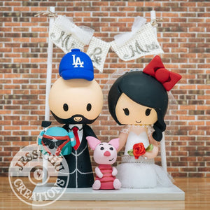 LA Dodgers & Hello Kitty Sports Fan Wedding Cake Topper | Disney x Star Wars x Sports x Sanrio | Jessichu Creations
