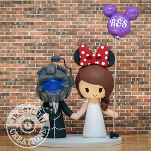 Titan Fall Gamer and Minnie Mouse Wedding Cake Topper | Disney | Jessichu Creations