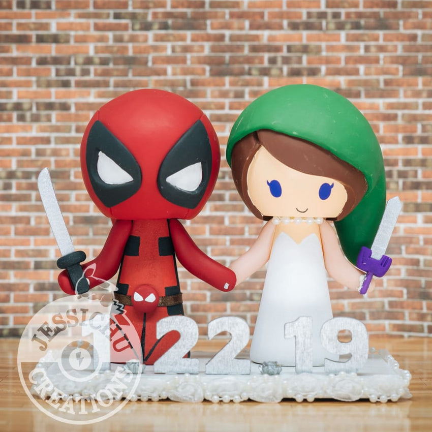 Deadpool and Link Wedding Cake Topper | Marvel X-Men x Zelda | Jessichu Creations