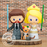 Geeky and Wonder Woman with Pet Corgi & Thor Hammer Wedding Cake Topper | Marvel x DC x Star Wars | Jessichu Creations
