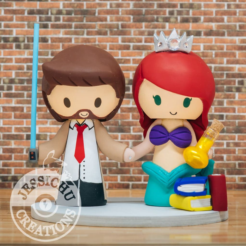 John Constantine and Ariel Little Mermaid Wedding Cake Topper | Marvel x Mystery Science Theater 3000 x Disney | Jessichu Creations