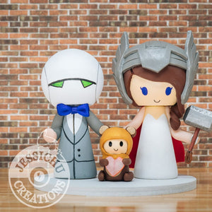 MARVIN The Paranoid Robot Groom & Thor Bride with Ewok Baby Wedding Cake Topper | Hitchhikers Guide to the Galaxy x Marvel x Star Wars | Jessichu Creations