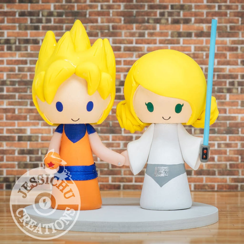 Super Saiyan Goku Groom & Princess Leia Wedding Cake Topper | Dragon Ball Z x Star Wars  | Jessichu Creations