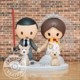 Sith Groom and Gryffindor Bride Wedding Cake Topper | Star Wars x Harry Potter | Jessichu Creations