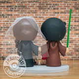 Jedi Groom & Slytherin Bride with Ewok & Dobby - Star Wars x Harry Potter Inspired Wedding Cake Topper Cake Topper Gallery