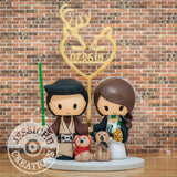 Jedi Groom and Gryffindor Bride with Pet Ewok & Dobby Wedding Cake Topper | Star Wars x Harry Potter | Jessichu Creations