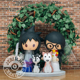 Sasuke Uchiha Groom & Harry Potter Gryffindor Bride Anime Inspired Wedding Cake Topper | Naruto x HP | Jessichu Creations