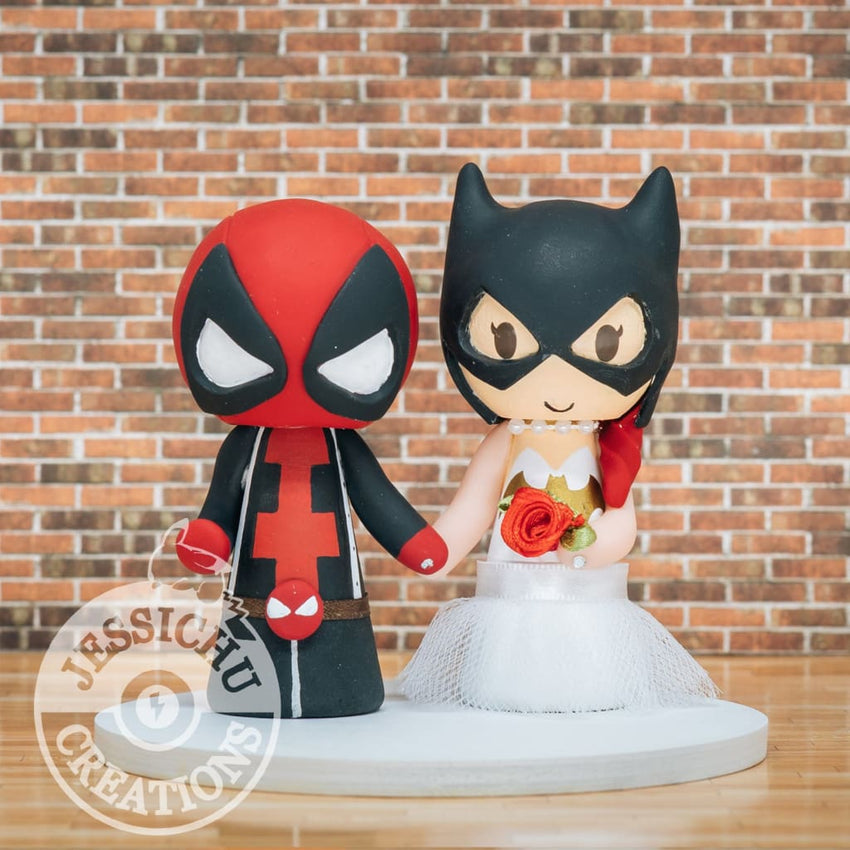 Deadpool and Batgirl Wedding Cake Topper | Marvel X-Men x DC | Jessichu Creations