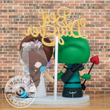 Green Arrow Groom & Rapunzel Bride Wedding Cake Topper | DC x Disney | Jessichu Creations