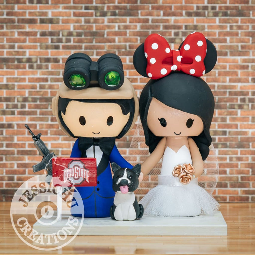MAWL Man Groom Minnie Mouse Bride Wedding Cake Topper | Lego x Disney | Jessichu Creations