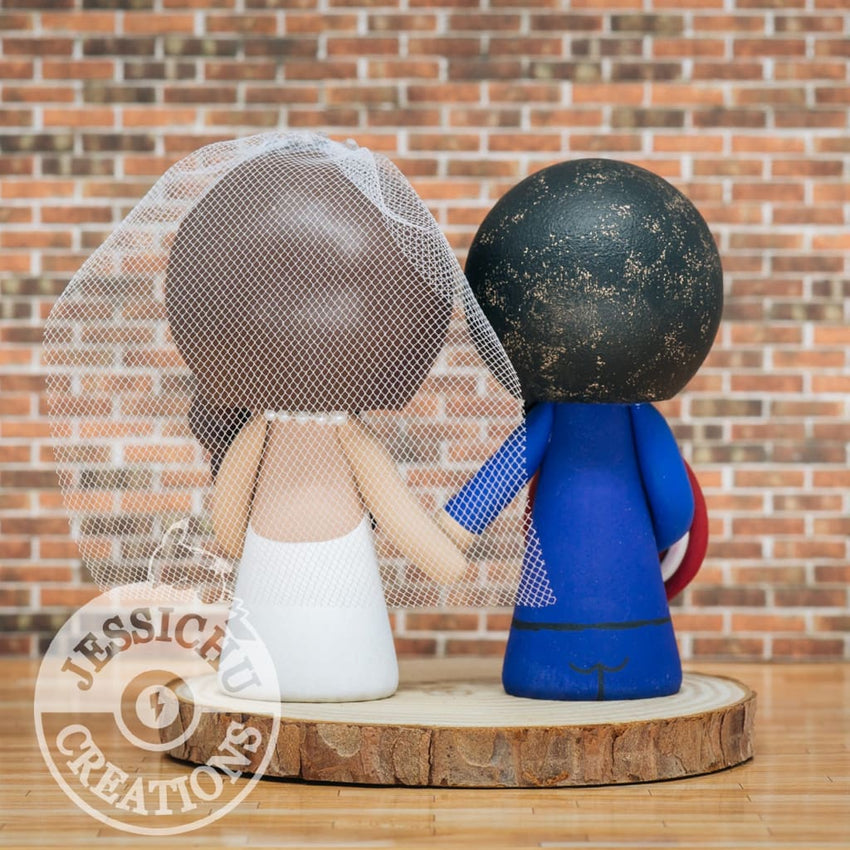 Captain America and Nurse Bride Wedding Cake Topper | Marvel | Jessichu Creations