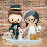 1920's Gatsby Groom & Bride Vintage-Modern Wedding Cake Topper | Jessichu Creations