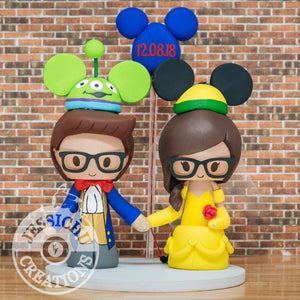 Beauty and the Beast Couple with Alien & Pluto Ears Wedding Cake Topper | Disney x Pixar x Toy Story | Jessichu Creations