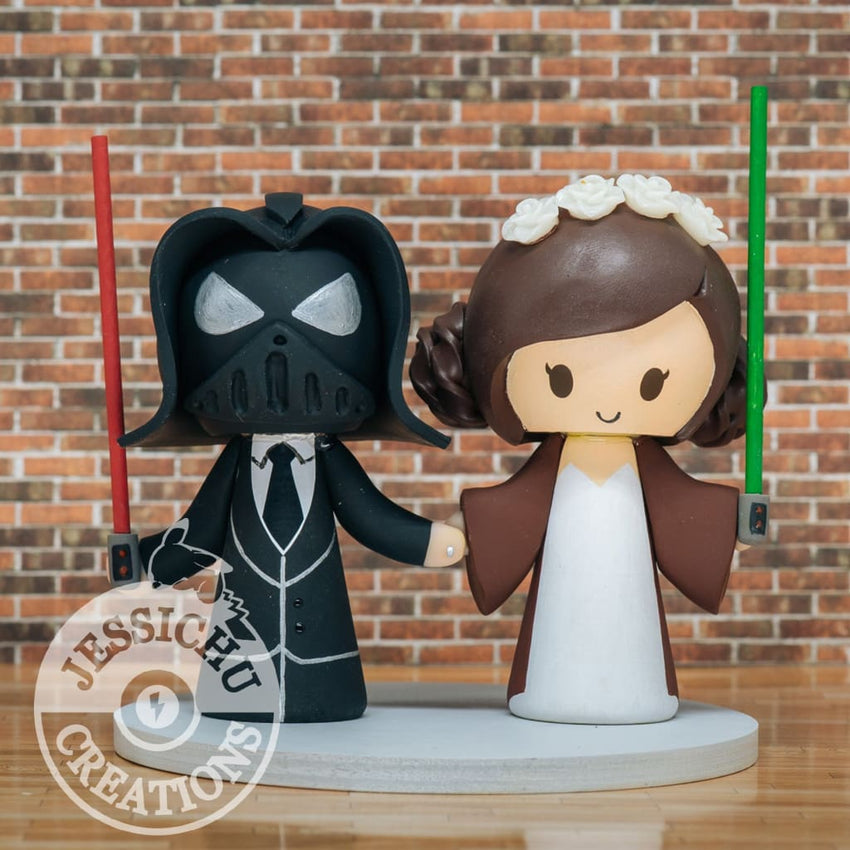 Darth Vader & Queen Padme Amidala Wedding Cake Topper | Star Wars | Jessichu Creations