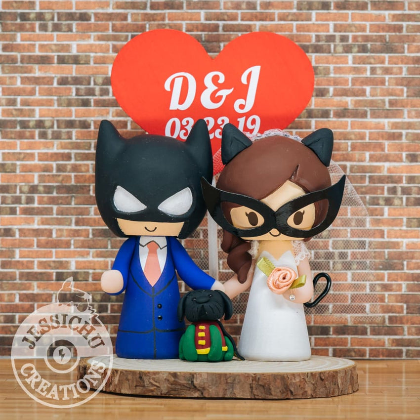 Batman and Catwoman with Robin Dog Wedding Cake Topper | DC Comics | Jessichu Creations