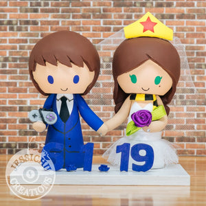 SNES Gamer Groom & Hufflepuff Wonder Woman Bride Wedding Cake Topper | DC x HP | Jessichu Creations