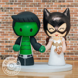 Hulk and Batgirl Wedding Cake Topper | Marvel x DC | Jessichu Creations