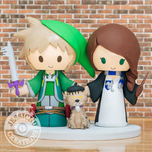Link x Sora Kingdom Hearts & Ravenclaw Bride Wedding Cake Topper | Zelda x Disney x HP | Jessichu Creations