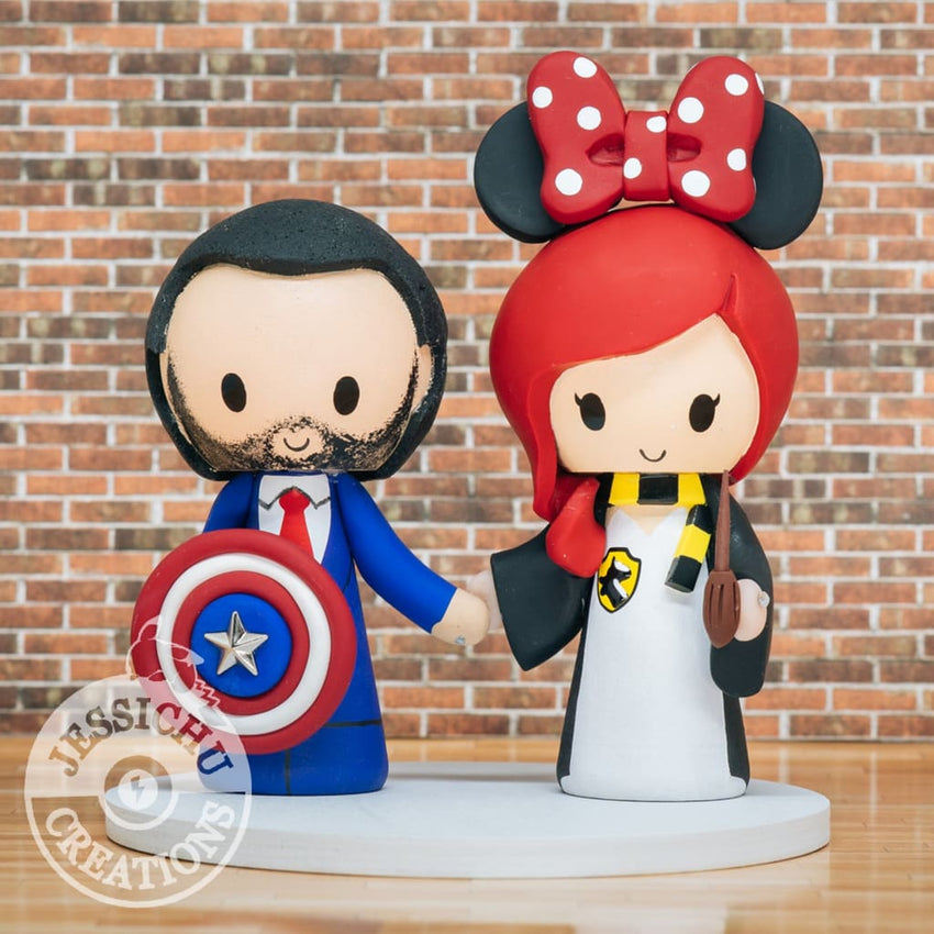 Captain America Tigger Groom & Harry Potter Hufflepuff Minnie Bride with BB8 & Porg Wedding Cake Topper | Disney x Marvel x Star Wars x HP | Jessichu Creations
