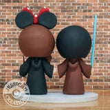Jedi Groom and Minnie Ravenclaw Bride Wedding Cake Topper | Star Wars x Harry Potter | Jessichu Creations