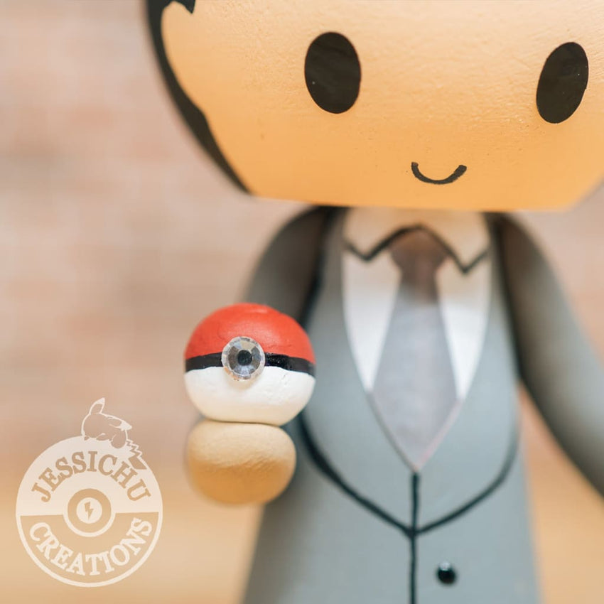 Pokemon Master Groom & Bride with Gravity Falls Waddles Custom Handmade Wedding Cake Topper Figurines | Jessichu Creations