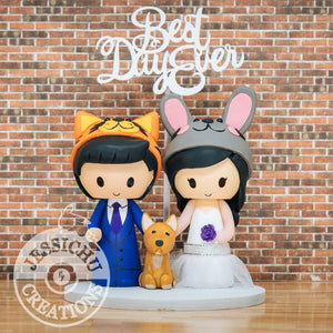 Tiger Groom & Rabbit Bride with Pet Corgi Custom Made Figurine Wedding Cake Topper | Jessichu Creations