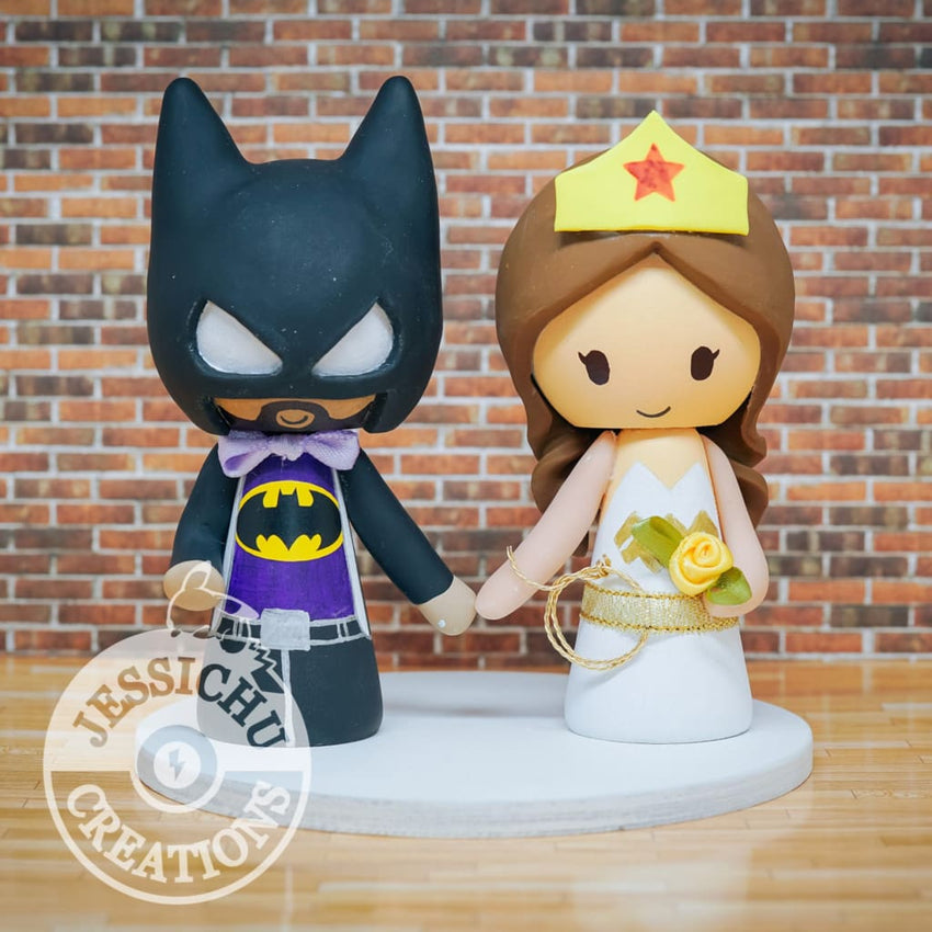Batman and Wonder Woman Wedding Cake Topper | DC Comics | Jessichu Creations