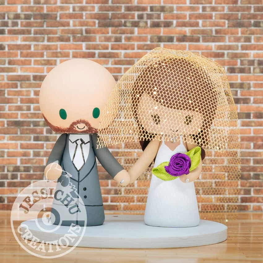 Groom & Bride with Cathedral Veil Custom Handmade Figurine Wedding Cake Topper | Jessichu Creations