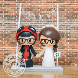 Deadpool and Starbucks Lover Wedding Cake Topper | Marvel X-Men | Jessichu Creations
