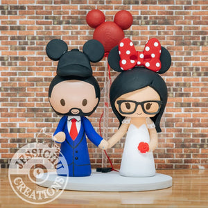 Mickey & Minnie Mouse Custom Handmade Figurine Wedding Cake Topper | Disney | Jessichu Creations
