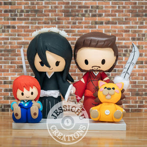 Inuyasha Groom & Rukia Bride with Shippo & Kon Wedding Cake Topper | Inuyasha x Bleach | Jessichu Creations