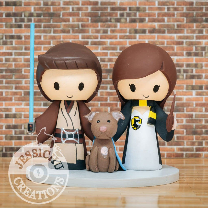 Jedi and Harry Potter Wedding Cake Topper | Star Wars x HP | Jessichu Creations