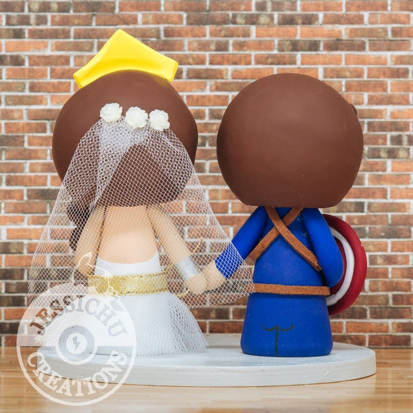 Captain America Groom & Wonder Woman Bride - Marvel x DC Inspired Wedding Cake Topper | Wedding Cake Toppers | Cake Topper Gallery | Jessichu Creations