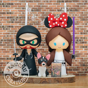 Wesley Groom & Minnie Jedi Bride Inspired Wedding Cake Topper | Disney x Princess Bride x Star Wars x HP | Jessichu Creations