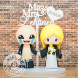 Isaac Groom & Hufflepuff Harry Potter Bride Custom Made Wedding Cake Topper | The Binding of Isaac x HP | Jessichu Creations]
