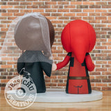 Deadpool Groom & Gryffindor Harry Potter Bride - Marvel X-Men x HP Inspired Wedding Cake Topper | Wedding Cake Toppers | Cake Topper Gallery | Jessichu Creations
